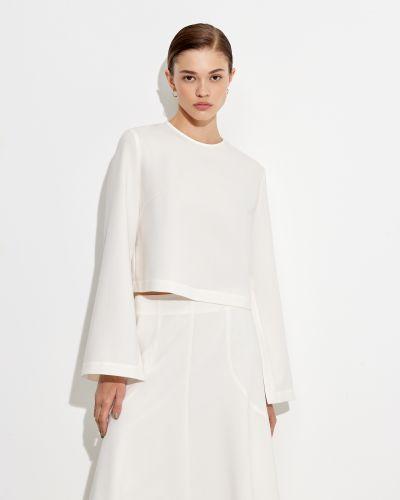 Блузка свободного кроя айвори с завышенной талией 12storeez