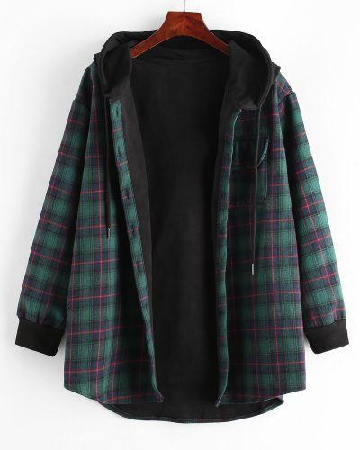 Зеленое пальто в клетку с карманами Zaful
