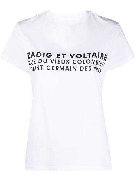 С рукавами белая футболка с надписью Zadig&voltaire