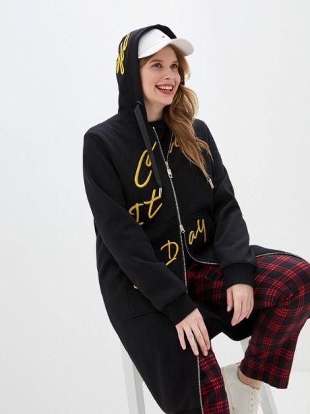 Черное зимнее пальто с капюшоном Winterra