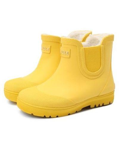 Шерстяные желтые сапоги с подкладкой Aigle