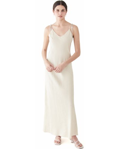 Beżowa sukienka z wiskozy z dekoltem w serek Dannijo