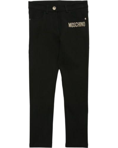 Хлопковые черные леггинсы с карманами Moschino