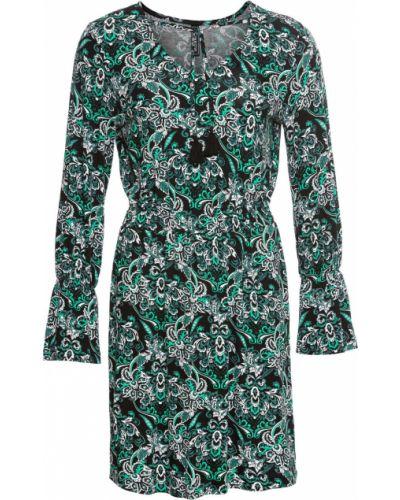 Платье мини трикотажное с изумрудом Bonprix