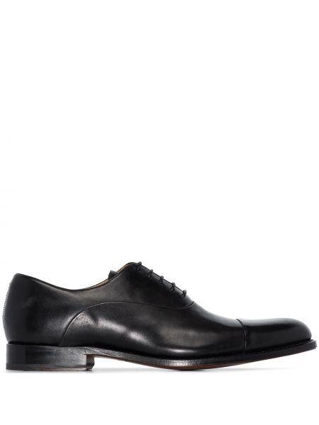 Кружевные кожаные черные кожаные туфли на шнурках Grenson