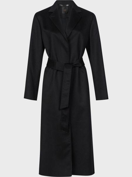 Черное кашемировое пальто с поясом Agnona