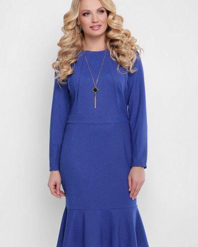 Коктейльное платье весеннее синее Vlavi