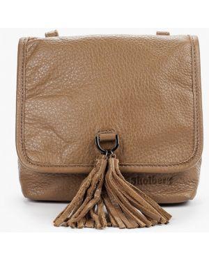 Кожаная сумка через плечо бежевый Shoiberg