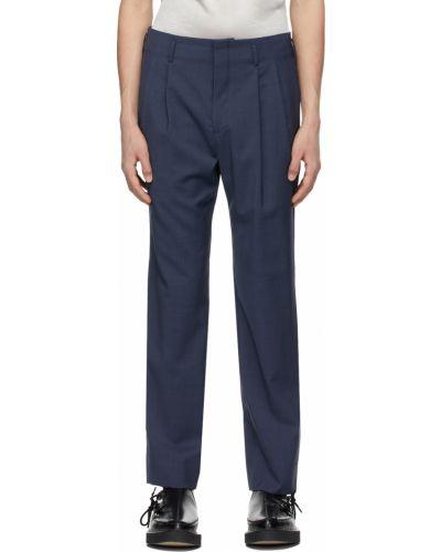 Niebieskie spodnie z paskiem wełniane Comme Des Garcons Homme Plus