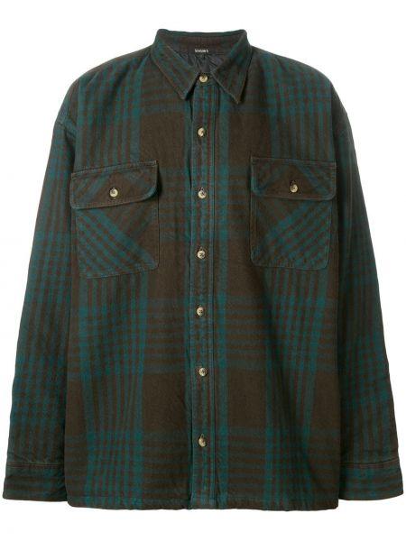 Zielona klasyczna koszula bawełniana z długimi rękawami Yeezy