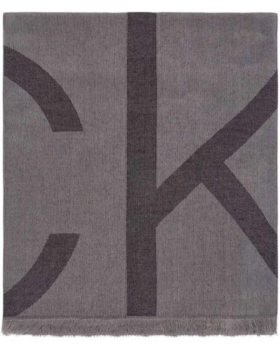 Szary szalik z printem Calvin Klein