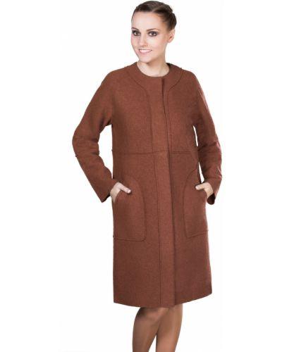 Пальто на кнопках прямое шерстяное с карманами J-splash