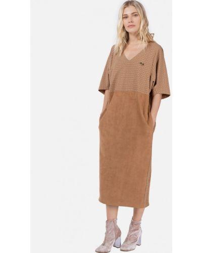 Платье миди бежевое Lo