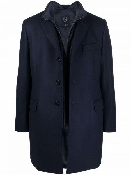 Синее длинное пальто Fay