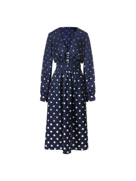 Платье мини в горошек в рубчик Oscar De La Renta