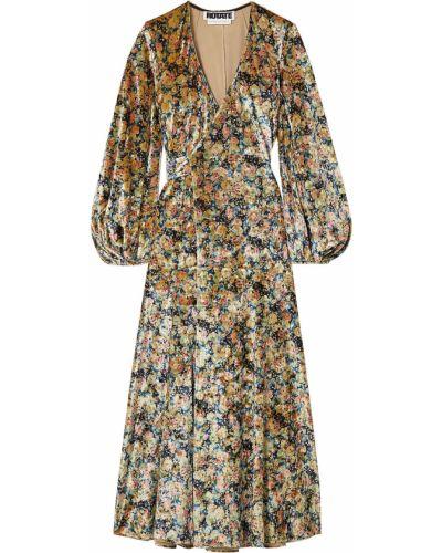 Beżowa sukienka midi z aksamitu z printem Rotate Birger Christensen