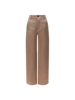 Шелковые прямые бежевые брюки Uma Wang