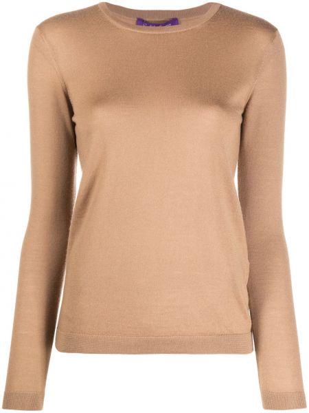 Коричневый кашемировый пуловер с длинными рукавами Ralph Lauren