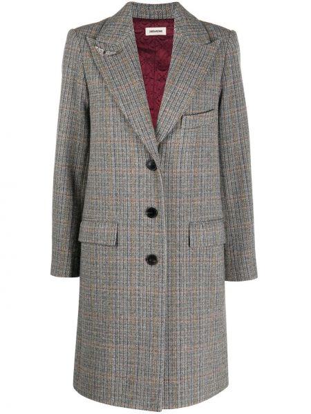 Серое классическое шерстяное пальто классическое на пуговицах Zadig&voltaire