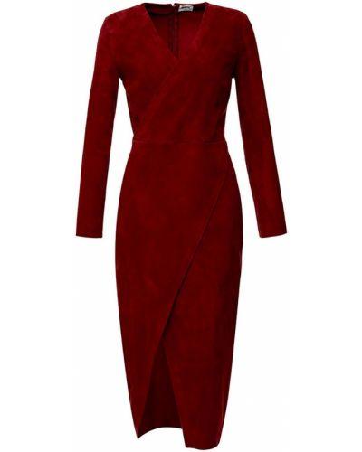 С рукавами красное платье миди с запахом Izeta