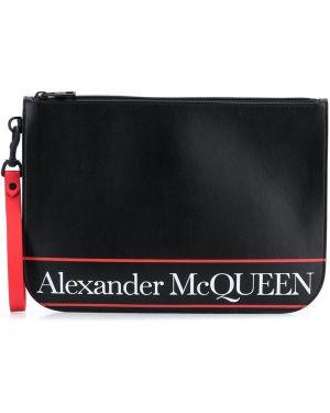 Кожаный черный клатч с карманами Alexander Mcqueen