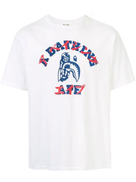 Хлопковая белая футболка с круглым вырезом с короткими рукавами Bape