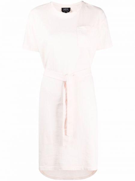 Трикотажное розовое платье мини с поясом A.p.c.