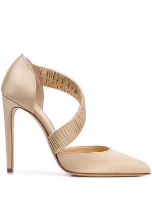 Шелковые кожаные туфли с воротником Chloe Gosselin