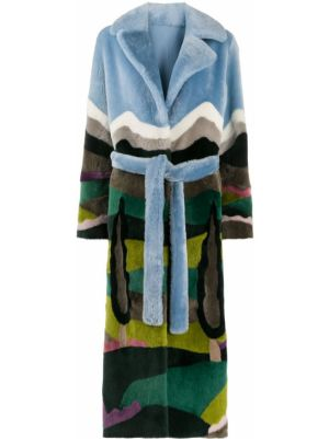 Длинное пальто с принтом с поясом Liska