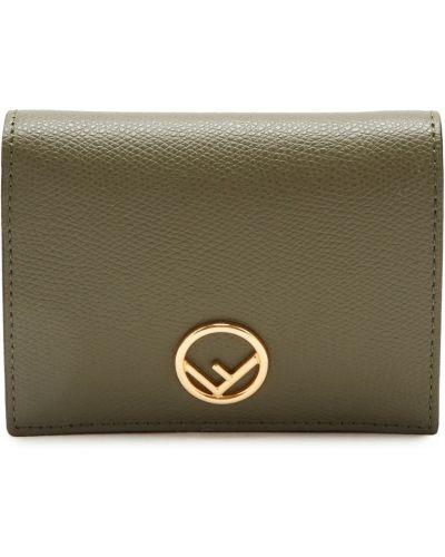 Кожаный кошелек зеленый круглый Fendi
