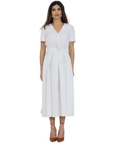 Sukienka mini z falbanami krótki rękaw z paskiem Max Mara