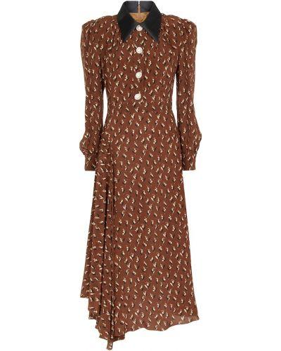 Шелковое платье миди - коричневое Alessandra Rich