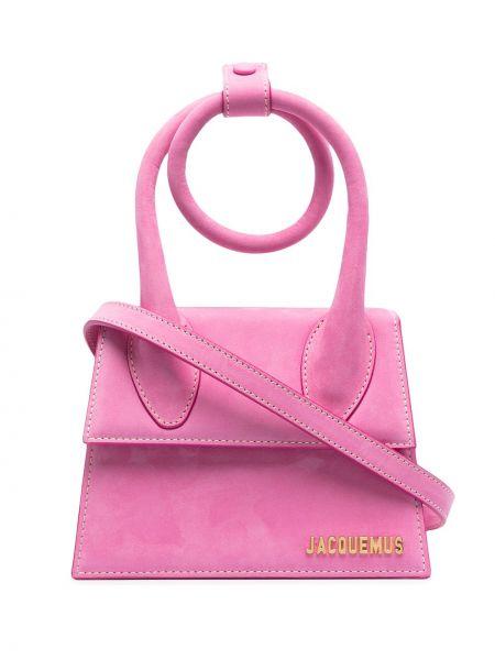 Розовая кожаная сумка-тоут круглая Jacquemus
