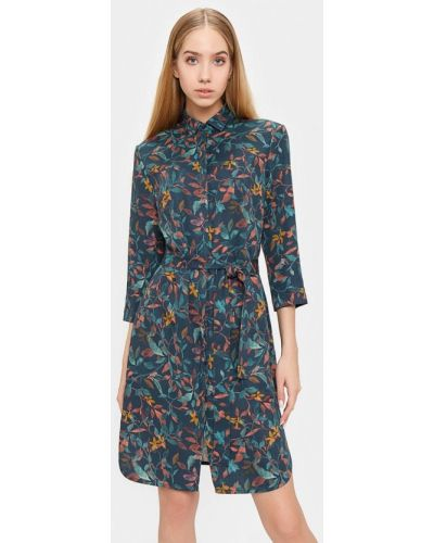 Платье платье-рубашка синее Bizzarro