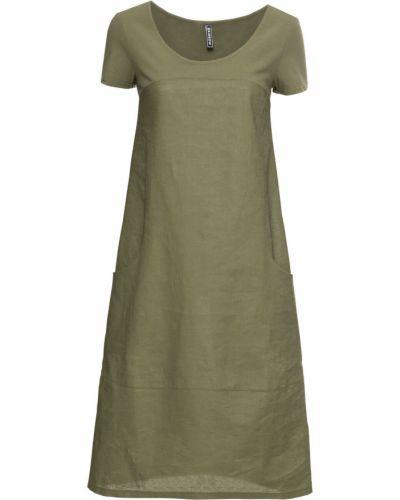 Оливковое платье миди Bonprix