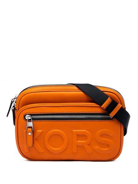 Оранжевая кожаная поясная сумка на молнии Michael Michael Kors