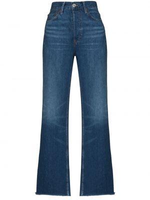 Широкие джинсы с завышенной талией - синие Re/done