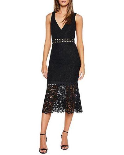 Кружевное черное платье без рукавов Bardot