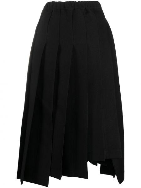Плиссированная черная юбка миди с поясом Comme Des Garçons
