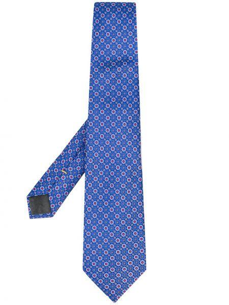 Шелковый классический синий галстук с подкладкой Canali