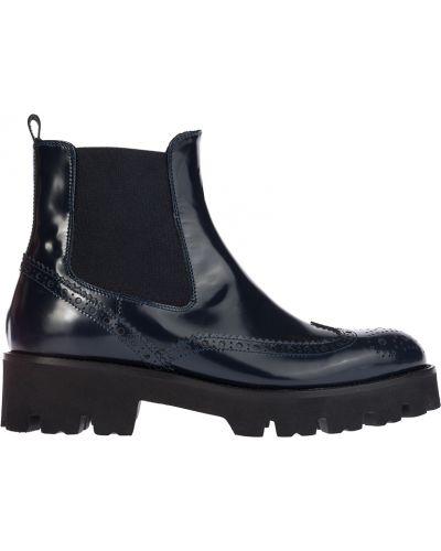 Кожаные ботинки - синие Baldinini