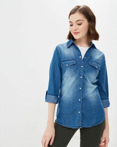 Джинсовая рубашка с длинным рукавом синяя Modis