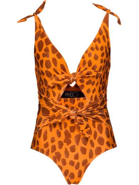 Оранжевый слитный купальник с завязками Patbo
