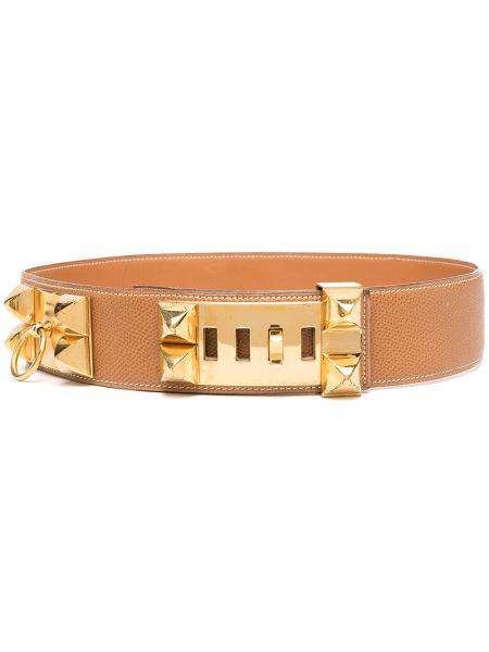 Кожаный ремень с заклепками винтажный Hermès