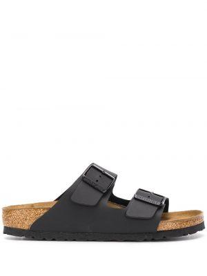 Кожаные черные сандалии с пряжкой с открытым носком Birkenstock