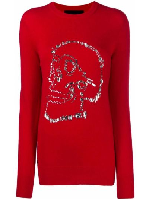 Шерстяной красный свитер с черепами в рубчик Philipp Plein
