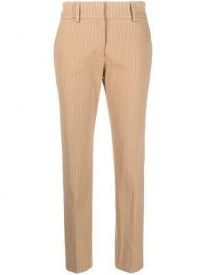 Хлопковые со стрелками коричневые укороченные брюки Piazza Sempione