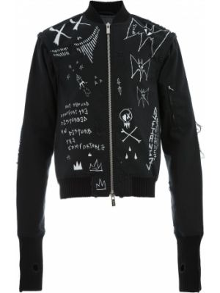 Czarna kurtka bawełniana z printem Mjb Marc Jacques Burton