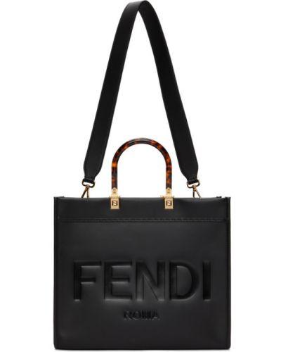 Czarna torba na ramię zamszowa Fendi
