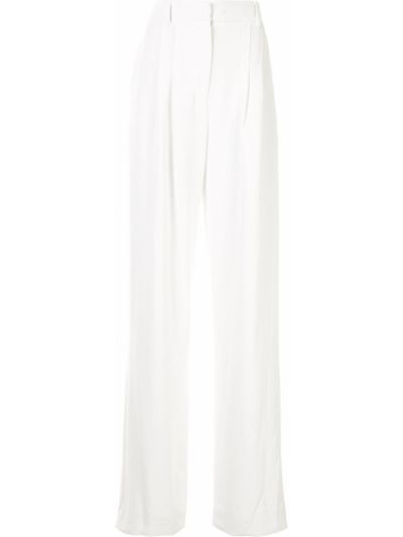 Белые плиссированные свободные брюки со складками с высокой посадкой Manning Cartell